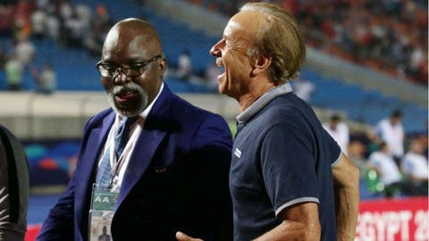 NFF President Amaju Pinnick and coach of Super Eagles Gernot Rohr
